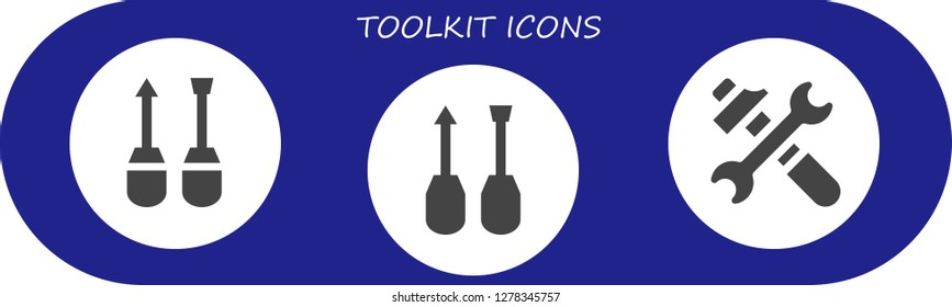 toolkit icon set. 3 filled toolkit icons. Simple modern icons about  - Screwdriver, Tools