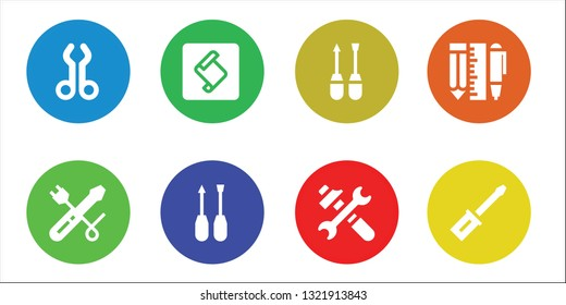 toolkit icon set. 8 filled toolkit icons.  Simple modern icons about  - Tool, Screwdriver, Extend script toolkit, Tools