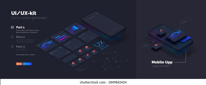 Toolkit-UI/UX scene creator. Part 1 Mobile application design. Smartphone mockup with active blocks and connections. Creation of the user interface. Modern vector illustration isometric style