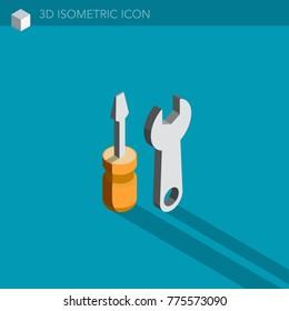 tools 3D isometric web icon