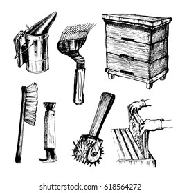 Tools for beekeeping and honey accessories.