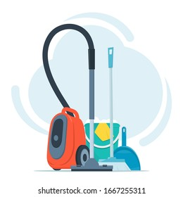 Tools for cleaning and housework. Vacuum cleaner, floor sweeping brush, dustpan, bucket of water and soap suds. Cute flat style vector illustration.