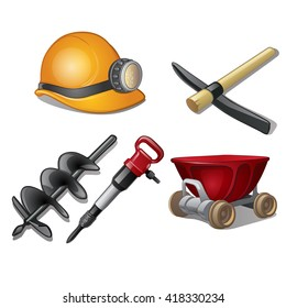 The tools of a coal miner isolated on a white background. Cartoon vector close-up illustration.