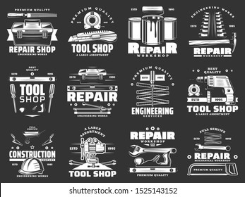 Tools of construction, repair, carpentry and interior design vector icons. Hammer, screwdriver and toolbox, drill, paint and roller, wrench, spanner and tape measure, ruler, trowel monochrome symbols
