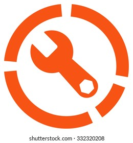 Tools Diagram vector icon. Style is flat symbol, orange color, rounded angles, white background.