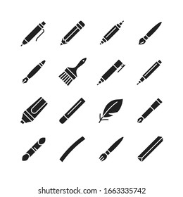 Tools for drawing, calligraphy, lettering, sketching flat glyph icon set. Paintbrush, pen, pencil, feather, marker, felt pen, charcoal, crayon, chalk, bamboo.Vector illustration.