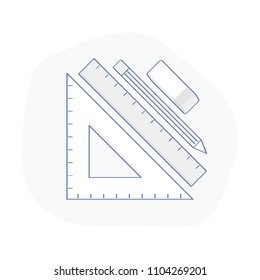 Tools for drawing, Engineering and Architecture design. Stationary supplies, set for sketching, outlines. Ruler, drawing triangle, pencil, grater on white background. Flat light outline vector.