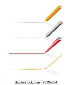 Tools for drawing and writing (pencil, pen, felt pen and brush)