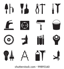 Tools and equipment for constructions - vector illustration
