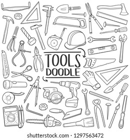 Tools and Equipment Traditional Doodle Icons Sketch Hand Made Design Vector