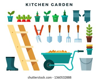 Tools and equipment for working in the kitchen garden, flat icons set. Cart, ladder, rake, hoe, shovel, bucket, rake, seedlings, boots, gloves, secateurs, shovel, pots, bucket. Vector illustration.