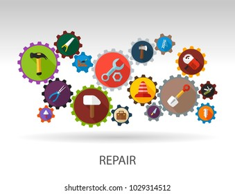 Tools flat icon concept. Vector illustration. Element template for design.