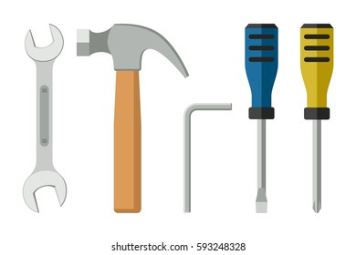 Tools in flat style. Icons of screwdrivers, spanner, hammer.