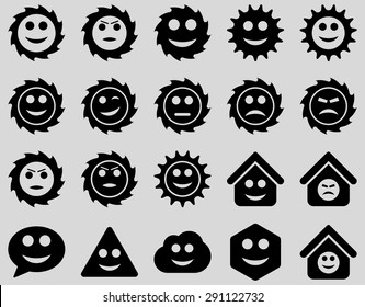 Tools, gears, smiles, emotions icons. Vector set style: flat images, black symbols, isolated on a light gray background.