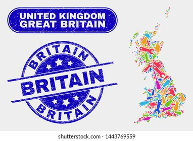 Tools Great Britain map and blue Britain textured seal stamp. Colored vector Great Britain map mosaic of mechanic elements. Blue round Britain stamp.