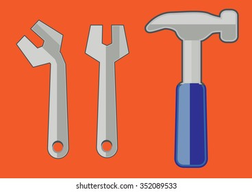 tools - hammer and spanner