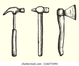 tools hammers and ax set drawing a handmade monochrome vector. isolated