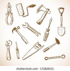 Tools hand drawn in sketchy vintage style. Retro vector illustration.