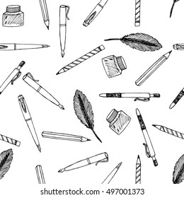 Tools for handwriting: Hand Drawn Pattern with Freehand Sketch Icons for Print on Fabric. Handmade Doodles for Printing Design. Science elements. Vector Illustration with drawing Sketch-art objects.