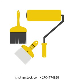 Tools for home renovation. Paint roller and brush. Vector illustration Handmade tools collection.