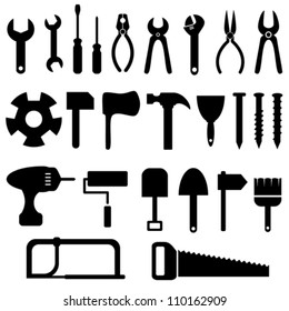 Tools icon set in black