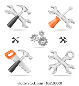 The tools icon set cross with each other isolated on a white background