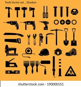 Tools icon set - silhouette