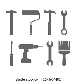 Tools icon set. Vector illustration, flat design.
