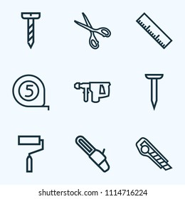 Tools icons line style set with measurement, scissors, nail and other saw elements. Isolated vector illustration tools icons.