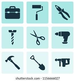 Tools icons set with electric instrument, drill, scissors and other clamp elements. Isolated vector illustration tools icons.