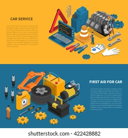 Tools isometric banner set with various kits of instruments used in car service vector illustration