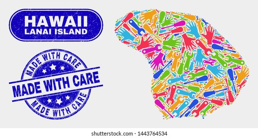 Tools Lanai Island map and blue Made with Care textured seal. Bright vector Lanai Island map mosaic of production elements. Blue round Made with Care seal.