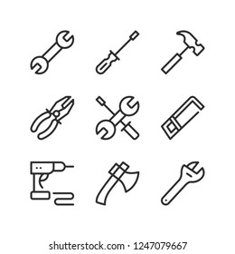 Tools line icons set. Outline elements, linear signs, simple symbols collection. Modern graphic design concepts. Vector line icons isolated on white background