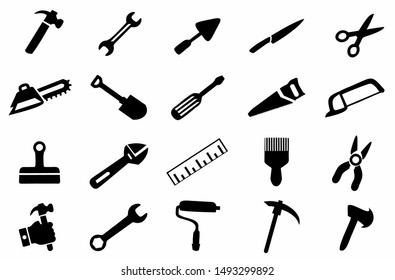 tools maintenance icon set, hand tools settings vector, construction tool symbol collection in black white color