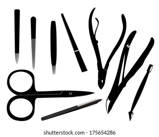 Tools for manicure on a white background