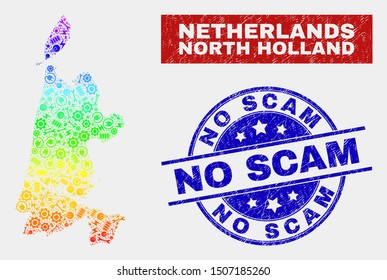 Tools North Holland map and blue No Scam scratched seal stamp. Spectral gradiented vector North Holland map mosaic of tools parts. Blue round No Scam rubber.