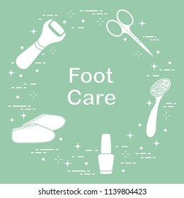 Tools for pedicure. Nail polish, electric foot file, pumice, scissors, silicone socks. Personal care.