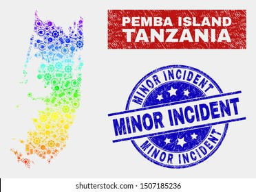 Tools Pemba island map and blue Minor Incident textured seal stamp. Spectral gradiented vector Pemba island map mosaic of tools units. Blue round Minor Incident rubber.