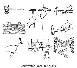 Tools related to work with hammers. Vector illustration of a format EPS.