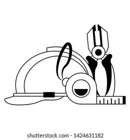 tools set collection workshop helmet plier icons cartoon vector illustration graphic design
