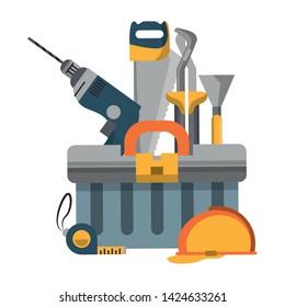 tools set collection workshop helmet plier saw icons cartoon vector illustration graphic design