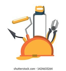tools set collection workshop helmet plier hacksaw icons cartoon vector illustration graphic design