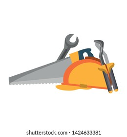 tools set collection workshop helmet wrenches plier saw icons cartoon vector illustration graphic design