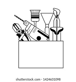 tools set collection workshop tool box plier icons cartoon vector illustration graphic design