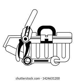 tools set collection workshop tool box wrenches plier icons cartoon vector illustration graphic design