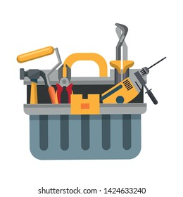tools set collection workshop tool box hammer plier icons cartoon vector illustration graphic design