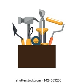tools set collection workshop tool box plier hammer icons cartoon vector illustration graphic design