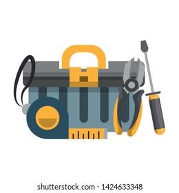 tools set collection workshop tool box plier screwdriver icons cartoon vector illustration graphic design