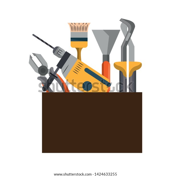 Tools Set Collection Workshop Tool Box Stock Vector Royalty Free 1424633255