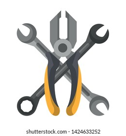 tools set collection workshop wrenches plier icons cartoon vector illustration graphic design